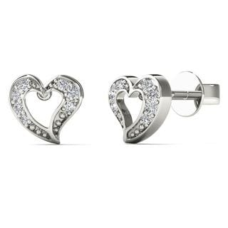 10k White Gold Diamond Accent Open Heart Shape stud Earrings (H-I, I1-I2)