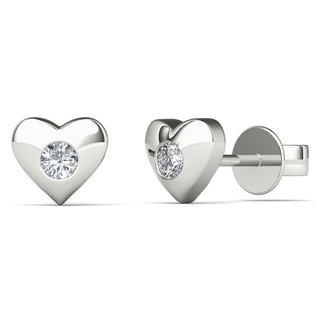 AALILLY 10k White Gold Diamond Accent Pleasant Heart Stud Earrings (H-I, I1-I2)