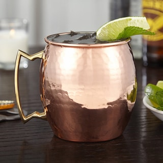 Handmade Gold Moscow Mule 16 oz. Hammered Copper Mug with Brass Handle