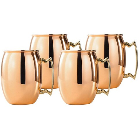 Solid Moscow Mule Copper Mugs with Smooth Finish -16oz with Brass Handle