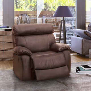 Furniture of America Gausten X-Large Brown Leather Glider Recliner