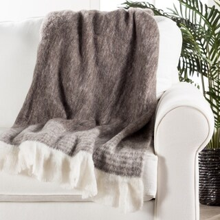 Ivory/Gray Wool, Acrylic & Polyester Throw (50 x 60 inches)