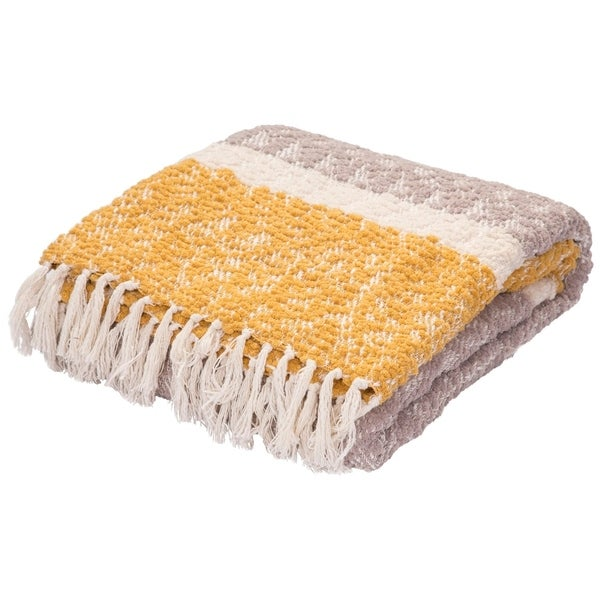 Gray/Yellow Polyester and Cotton Throw