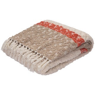 Ivory/Taupe Polyester and Cotton Throw (50 x 60 inches)