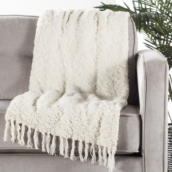Ivory/White Polyester and Cotton Throw