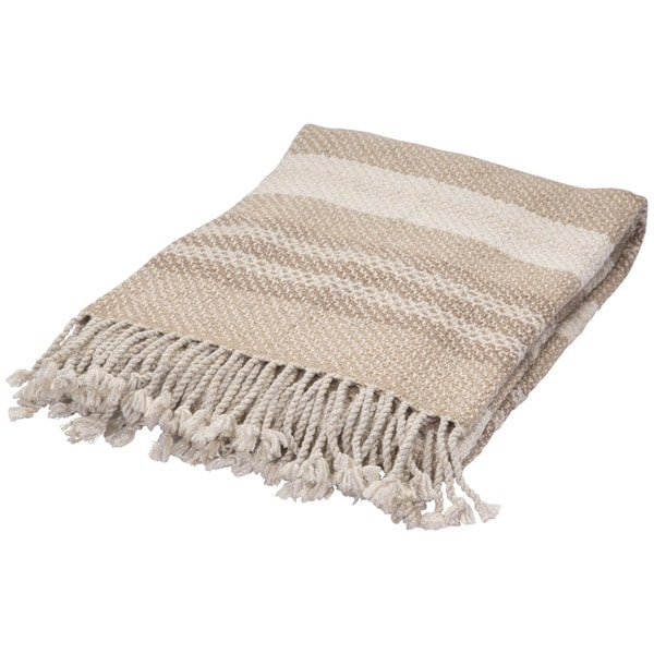 Beige/Ivory Wool Throw (50 x 60 inches)
