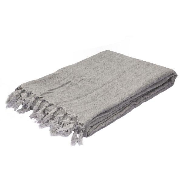 Gray Linen Throw (51 x 67 inches)