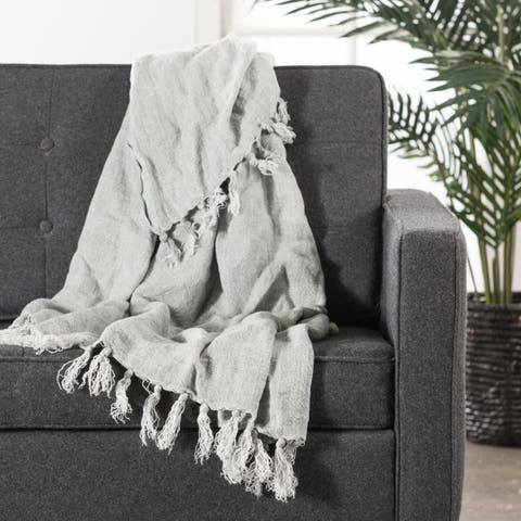 Gray Linen Throw