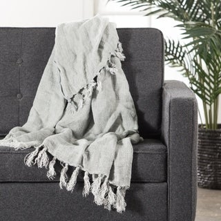 Gray Linen Throw (51 x 67 inches)