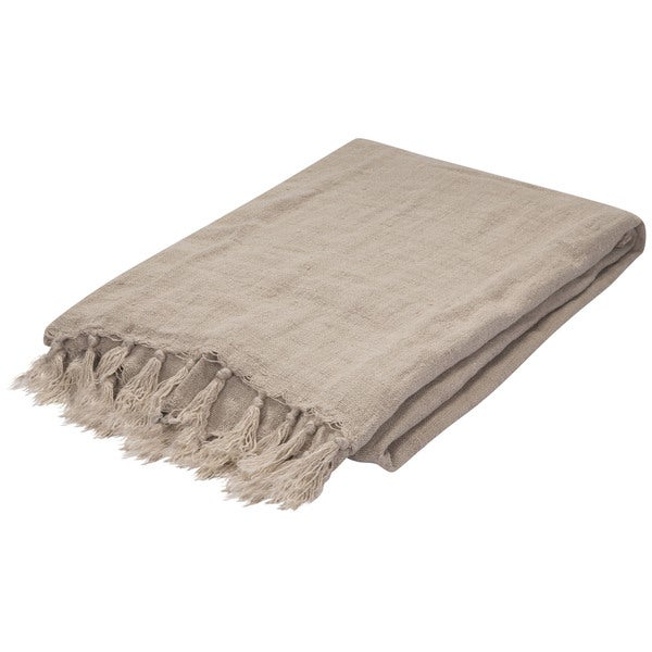 Natural Linen Throw (51 x 67 inches)