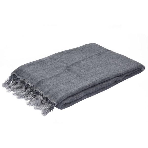 Blue Linen Throw (51 x 67 inches)