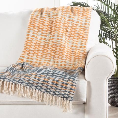 Orange/Blue Cotton Throw (50 x 60 inches)