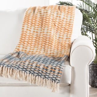 Orange/Blue Cotton Throw (50 x 60 inches)