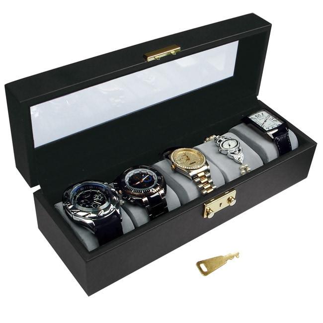 Ikee Design Deluxe Watch Display Case Key Lock, Black