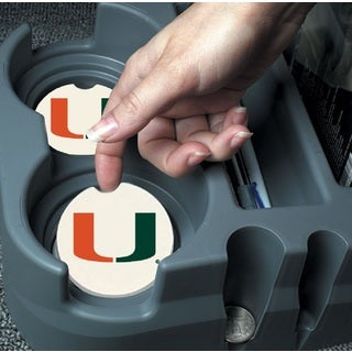 Miami Hurricanes Absorbent Stone Car Coaster (Set of 2)