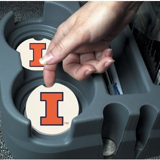 Illinois Fighting Illini Absorbent Stone Car Coaster (Set of 2)