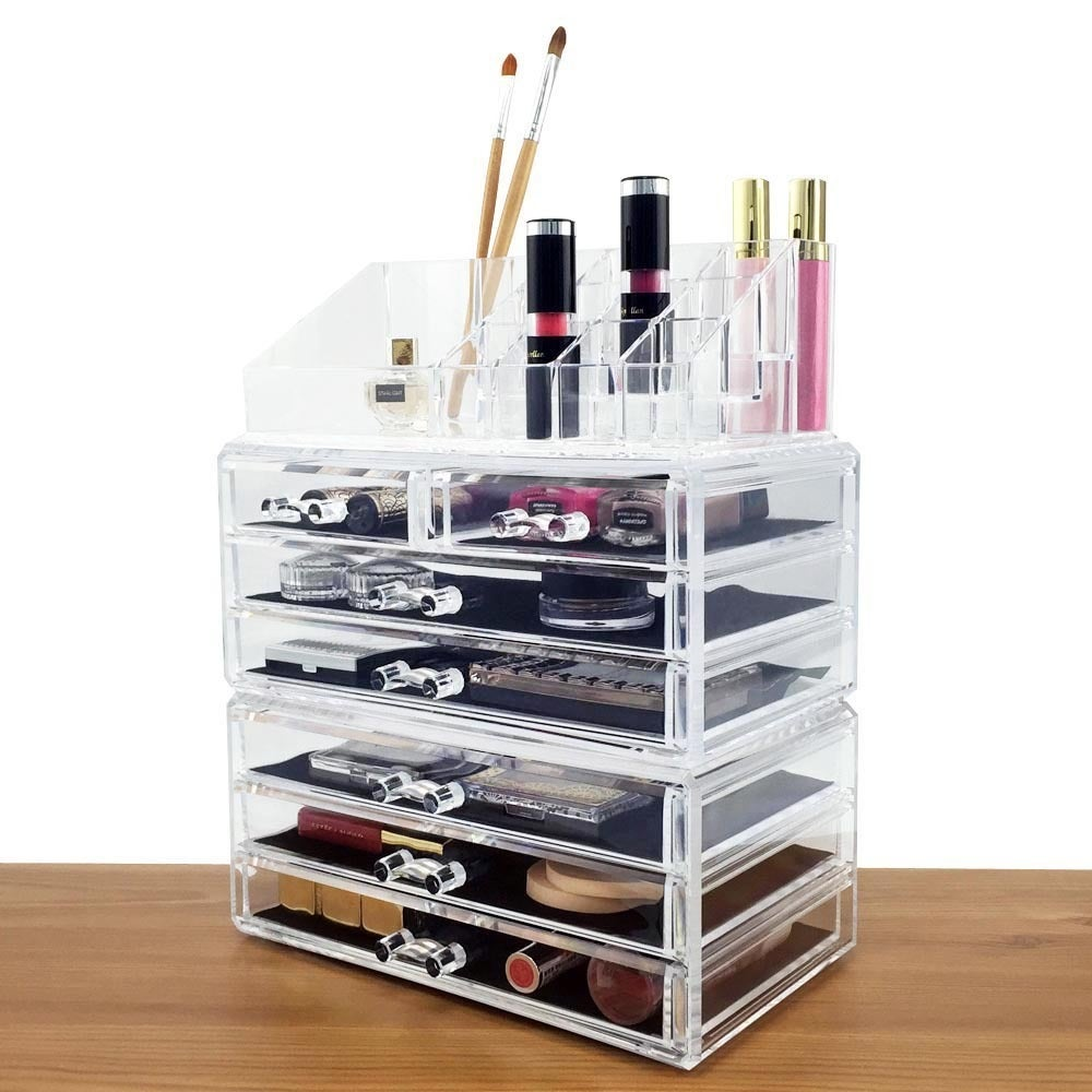 Shop Acrylic Jewelry And Cosmetic Storage Display Boxes 3 Piece Set Overstock 11158080