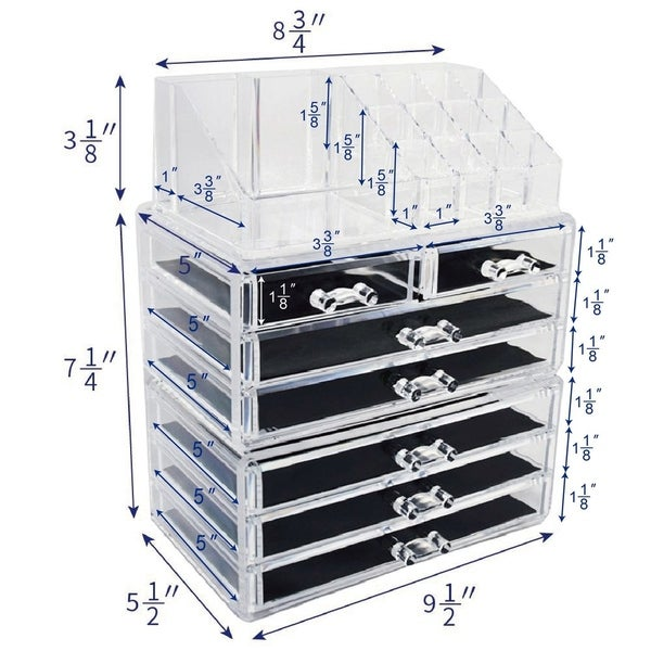 Ikee Design Acrylic Jewelry and Cosmetic Storage Display Boxes 3-piece Set
