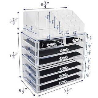 Ikee Design Acrylic Jewelry and Cosmetic Storage Display Boxes 3-pieces Set