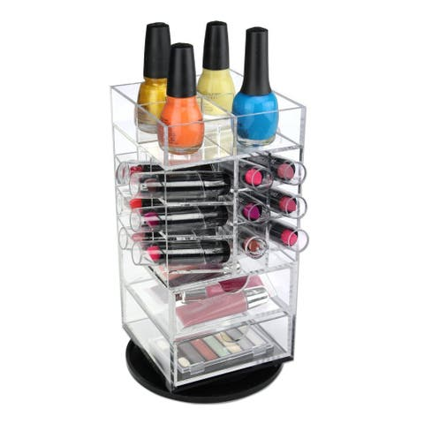 Premium Acrylic Rotating Cosmetic Lipstick Tower Organizer - Clear