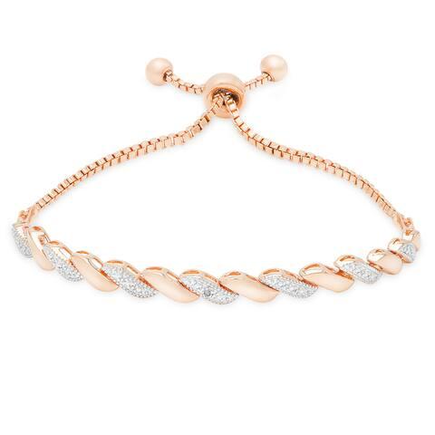 Finesque Gold Over Silver or Sterling Silver Diamond Accent Adjustable Slider Bracelet