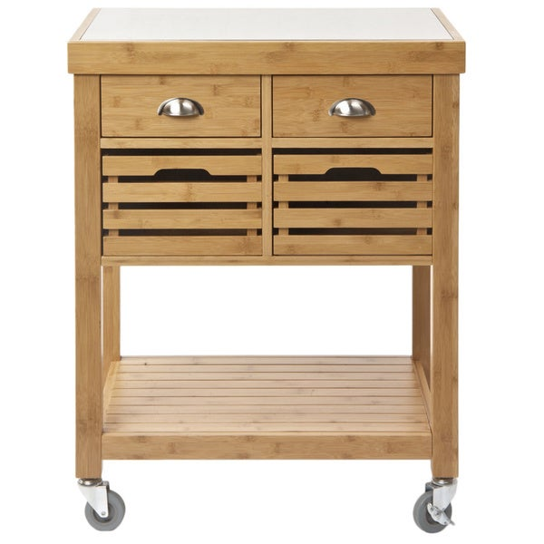 Kenta Stainless Steel Top Bamboo Kitchen Cart   Free Shipping Today    Overstock.com   18154337