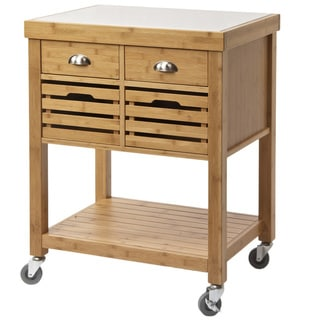 Kenta Bamboo Kitchen Cart, Stainless Steel Top