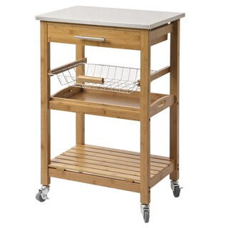 Boraam Aya Bamboo Kitchen Cart with Stainless Steel Top - Thumbnail 0
