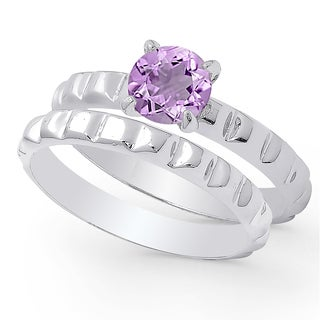 Dolce Giavonna Sterling Silver Amethyst Solitaire Bridal Ring Set