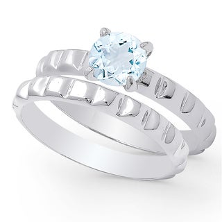 Dolce Giavonna Sterling Silver Blue Topaz Solitaire Bridal Ring Set