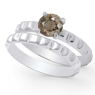 Dolce Giavonna Sterling Silver Smokey Quartz Solitaire Bridal Ring Set