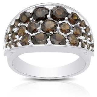 Dolce Giavonna Sterling Silver Smokey Quartz Cluster Ring