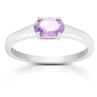 Dolce Giavonna Sterling Silver Amethyst Oval Solitaire Ring