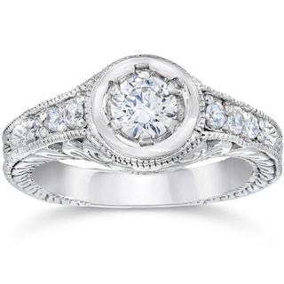 14k White Gold 5/8ct TDW Diamond Vintage Engagement Ring