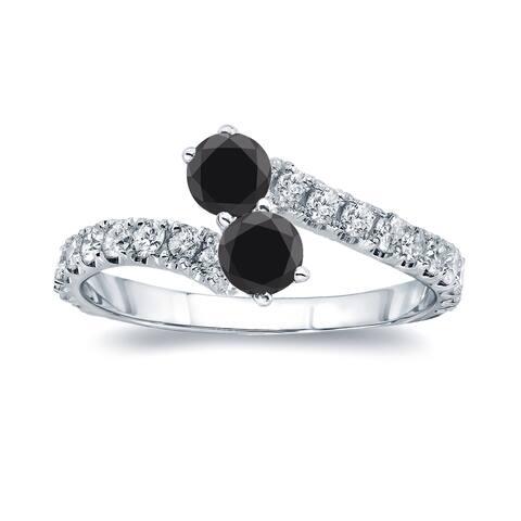 Auriya 14k Gold 1/2ctw 2-Stone Black Diamond Engagement Ring