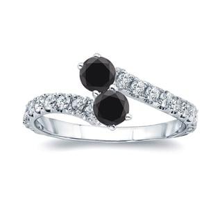 Auriya 14k Gold 1/2ct TDW Round-cut Black Diamond 4-prong, 2-stone Engagement Ring (Black, I1-I2)