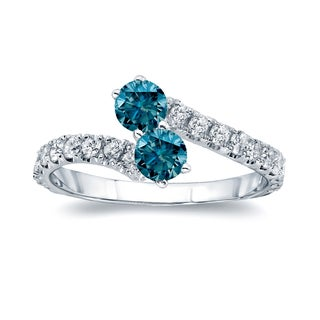 Auriya 14k Gold 3/4ct TDW Round-cut Blue Diamond 4-prong, 2-stone Engagement Ring (Blue, I1-I2)