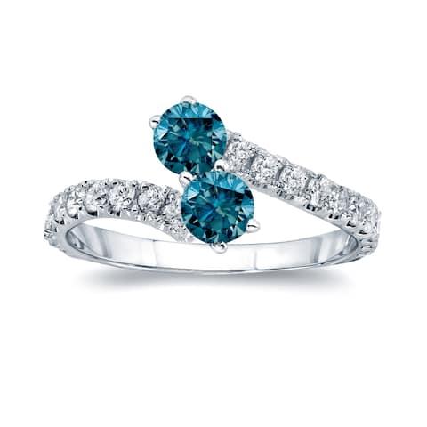 Auriya 14k Gold 1ctw Two-stone Blue Diamond Engagement Ring