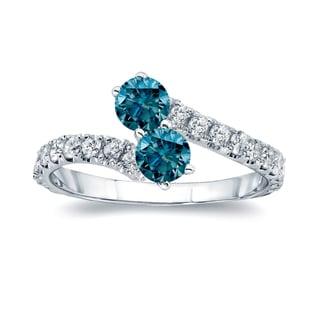 Auriya 14k Gold 1ct TDW Round-cut Blue Diamond 4-prong, 2-stone Engagement Ring (Blue, I1-I2)