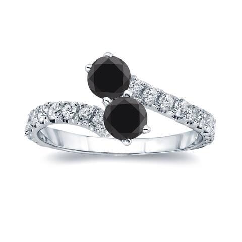 Auriya 14k Gold 1 1/2ctw 2-Stone Black Diamond Engagement Ring