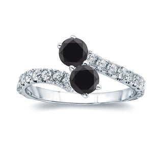 Auriya 14k Gold 1 1/2ct TDW Round-cut Black Diamond 4-prong, 2-stone Engagement Ring (Black, I1-I2)