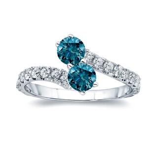 Auriya 14k Gold 1 1/2ct TDW Round-cut Blue Diamond 4-prong, 2-stone Engagement Ring (Blue, I1-I2)