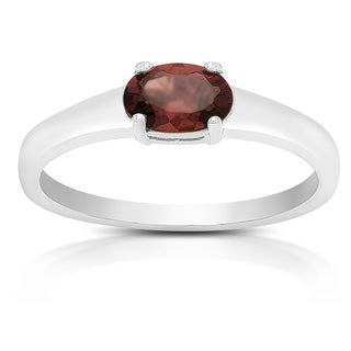 Dolce Giavonna Sterling Silver Garnet Oval Solitaire Ring