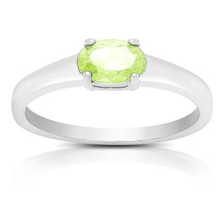 Dolce Giavonna Sterling Silver Peridot Oval Solitaire Ring
