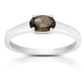 Dolce Giavonna Sterling Silver Smokey Quartz Oval Solitaire Ring