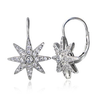 Icz Stonez Sterling Silver Cubic Zirconia Sunburst Leverback Earrings