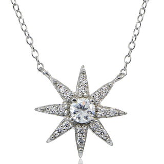 Icz Stonez Sterling Silver Cubic Zirconia Sunburst Necklace