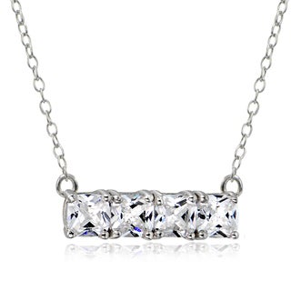 Icz Stonez Sterling Silver Cubic Zirconia Bar Necklace