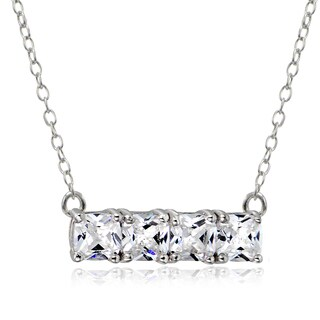 Icz Stonez Sterling Silver Cubic Zirconia Bar Necklace (3 options available)