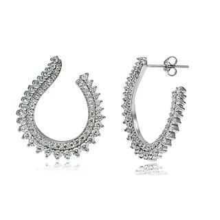 Icz Stonez Sterling Silver Cubic Zirconia Open Swirl Earrings
